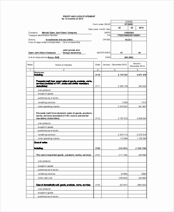 Profit and Loss Statement form Elegant 40 Free Statement forms
