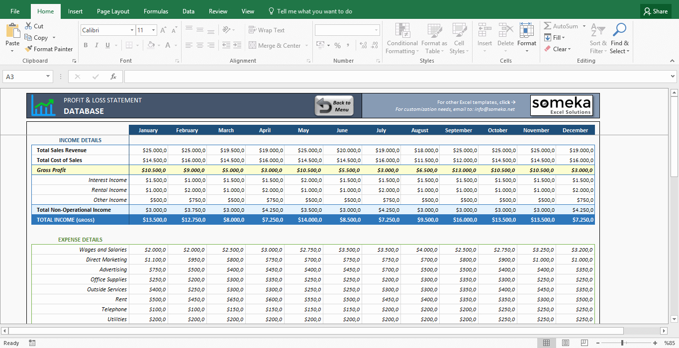 Profit and Loss Template Excel Best Of Profit and Loss Statement Template Free Excel Spreadsheet