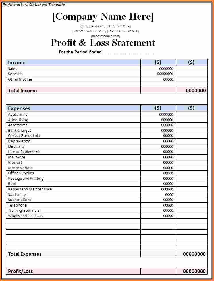 Profit and Loss Template Excel Lovely 7 Business Profit and Loss Spreadsheet