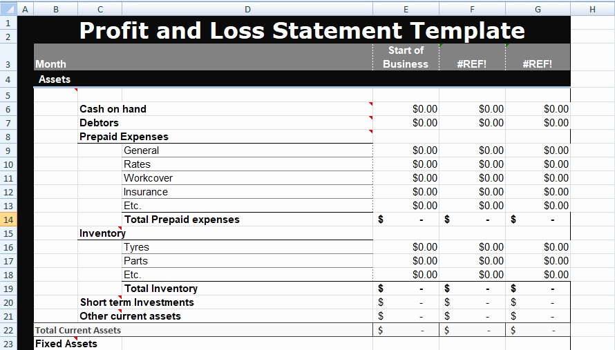 Profit and Loss Template Excel New Profit and Loss Statement Template Xls