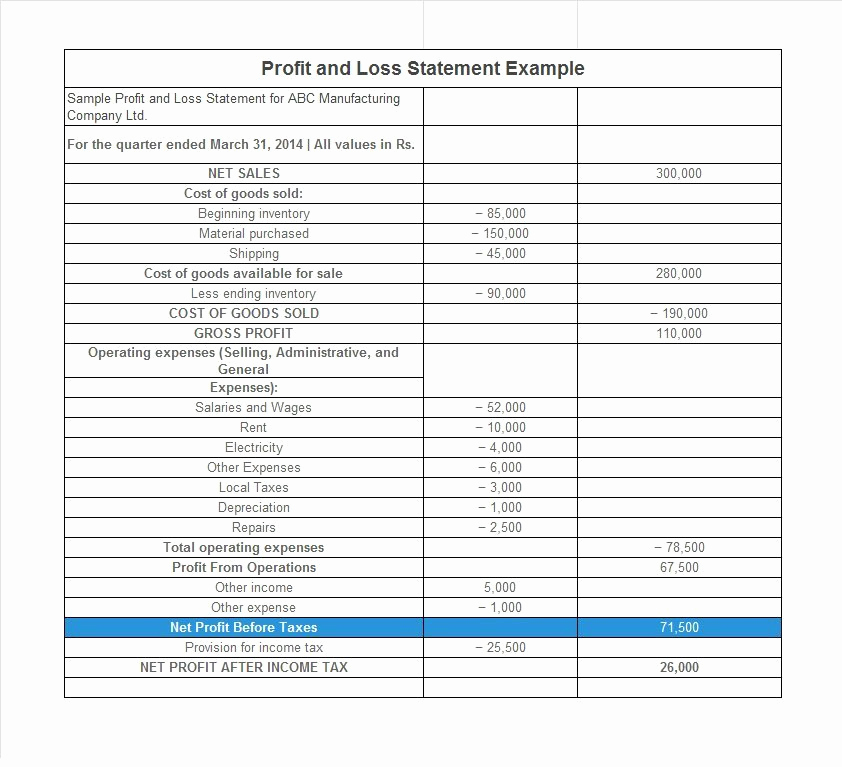 Profit Loss Statement Example Luxury 35 Profit and Loss Statement Templates & forms