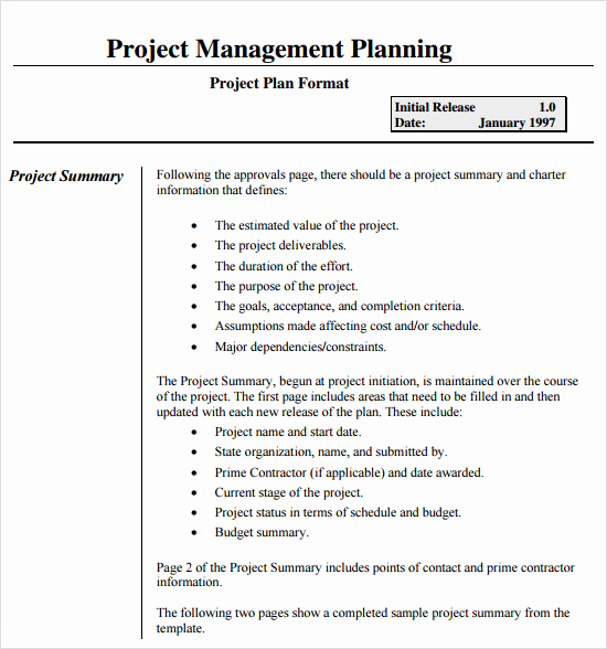 Project Plan Template Word New Sample Project Plan 18 Examples format