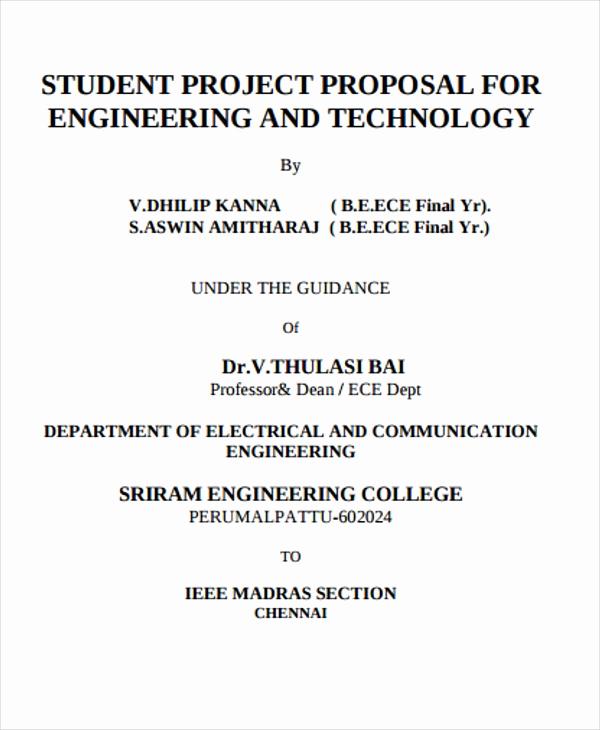 Project Proposal Sample for Students Elegant 38 Project Proposal Samples Word Pdf