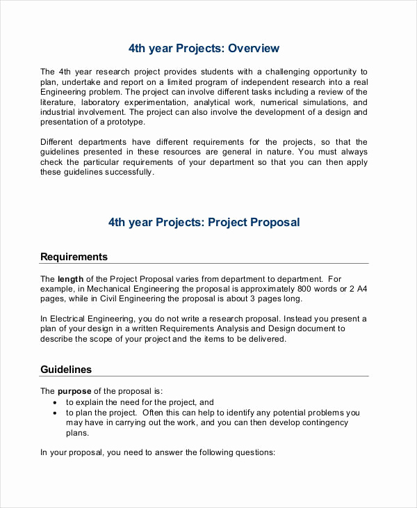 Project Proposal Sample for Students Luxury 30 Project Proposal Examples Word Pdf