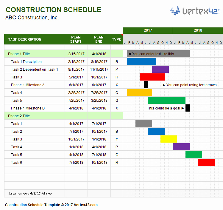 Project Schedule Template Excel Best Of Construction Schedule Template