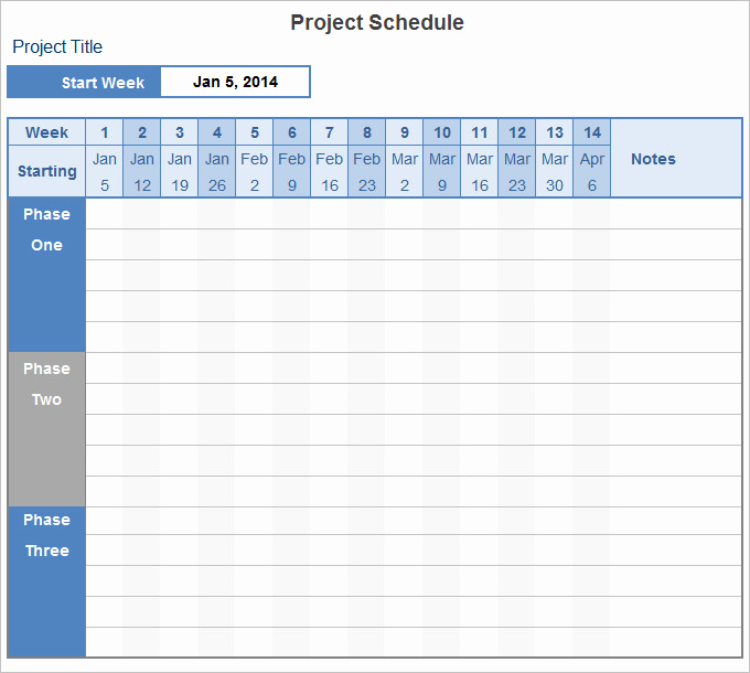 Project Schedule Template Excel Fresh Project Schedule Template 14 Free Excel Documents