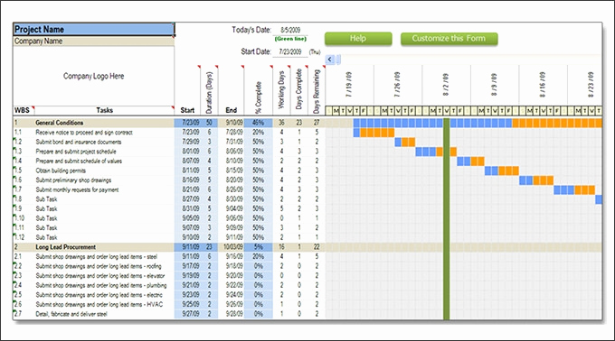 Project Schedule Template Excel Inspirational Construction Schedule Template
