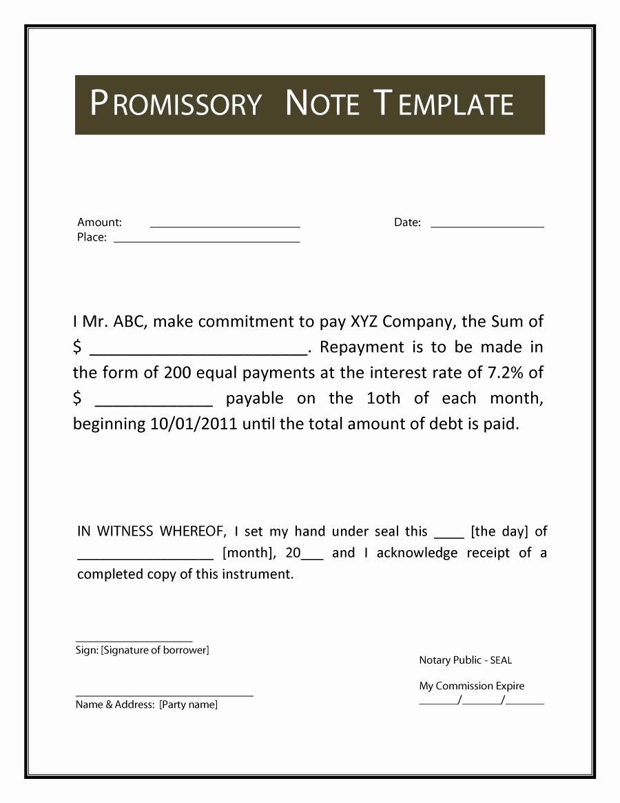Promissory Note Templates Free Awesome 45 Free Promissory Note Templates & forms [word & Pdf]