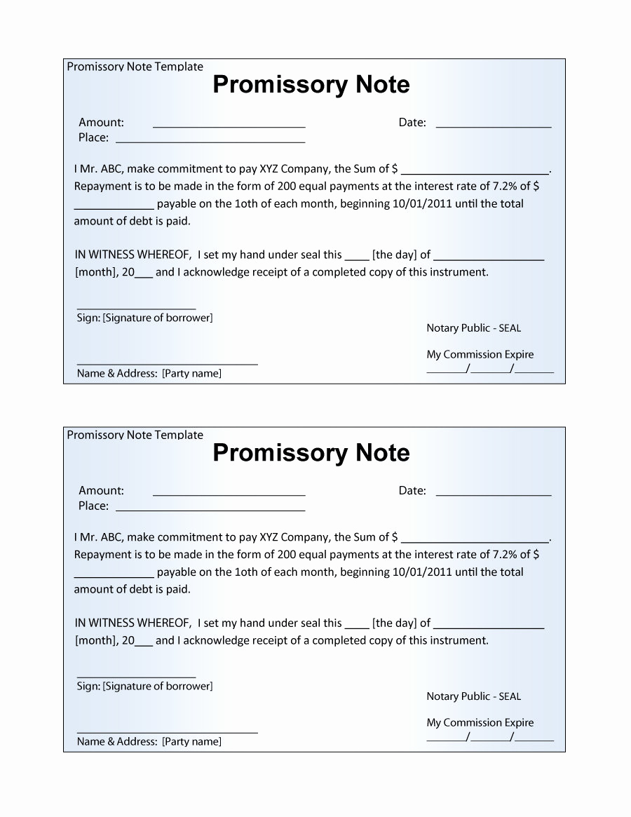 Promissory Note Templates Free Best Of 45 Free Promissory Note Templates & forms [word & Pdf