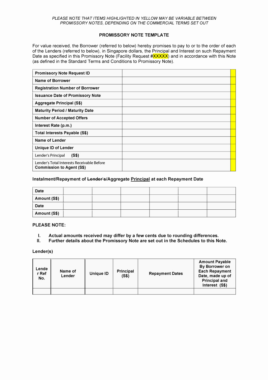Promissory Note Templates Free New 45 Free Promissory Note Templates & forms [word & Pdf]