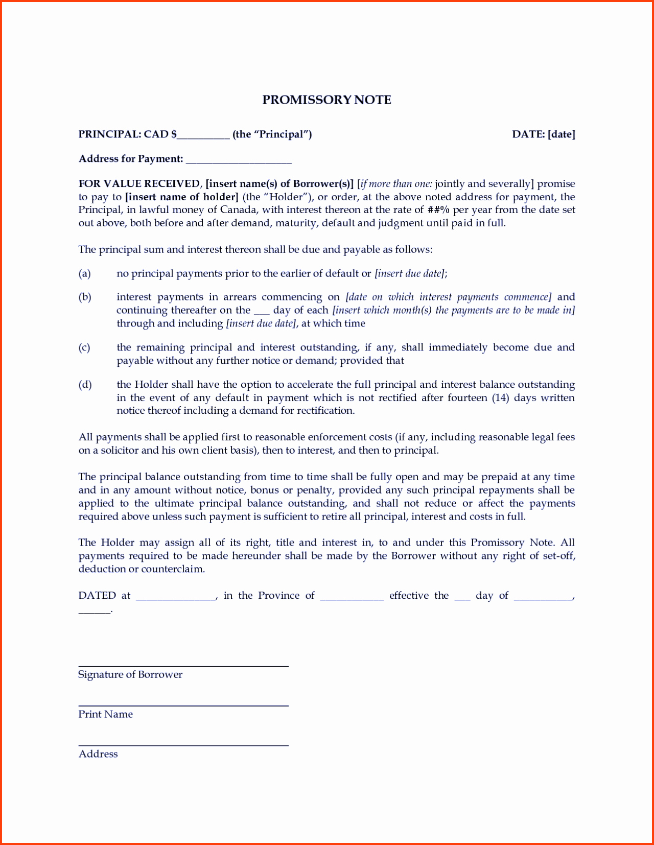 Promissory Note Templates Free Unique Free Promissory Note Template Word Pdf