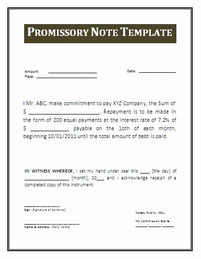 Promissory Note Templates Free Unique Promissory Note Template
