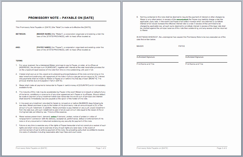 Promissory Note Templates Word New Promissory Note Template – Microsoft Word Templates