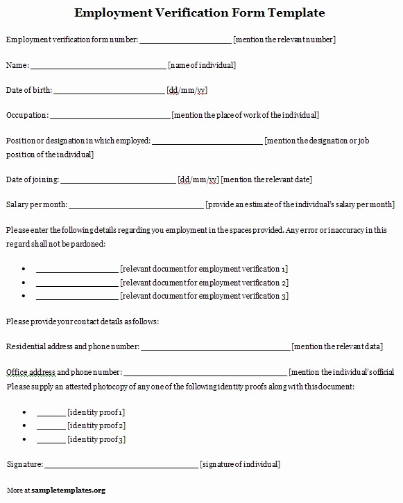 Proof Of Employment form Beautiful Employment Template for Verification form format Of