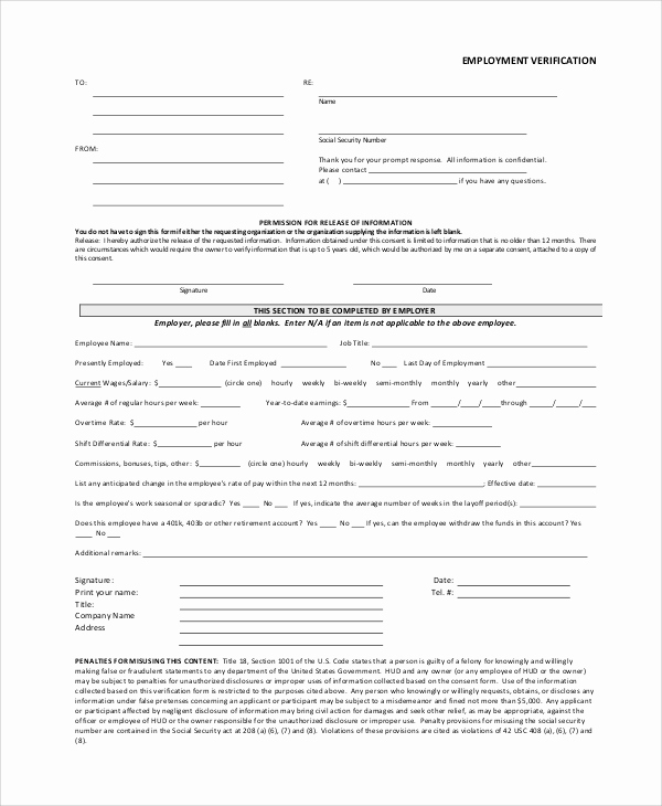 Proof Of Employment form Best Of 7 Sample Employment Verification forms