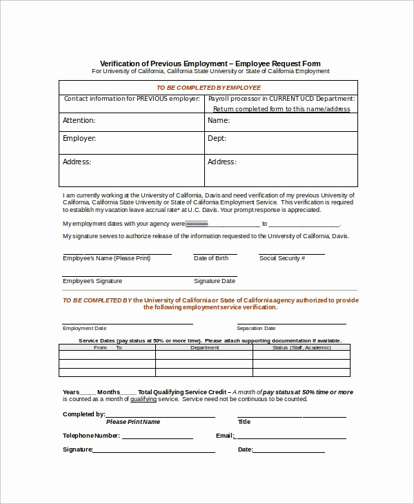Proof Of Employment form Best Of Sample Employment Verification form 8 Examples In Word Pdf