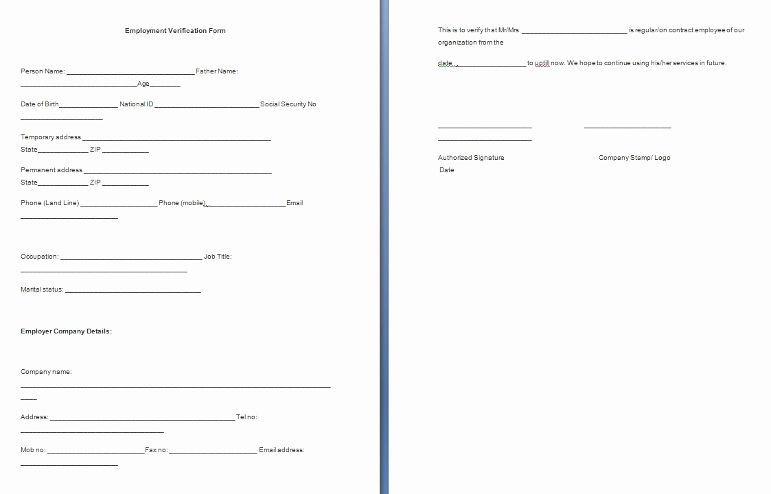 Proof Of Employment form Elegant Employment Verification form Template Free formats Excel