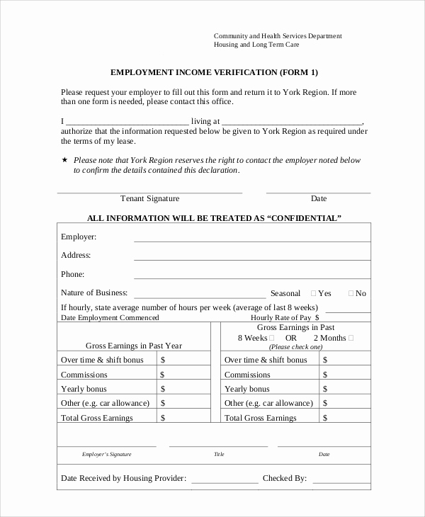 Proof Of Employment form Elegant Sample Employment Verification form 8 Examples In Word Pdf