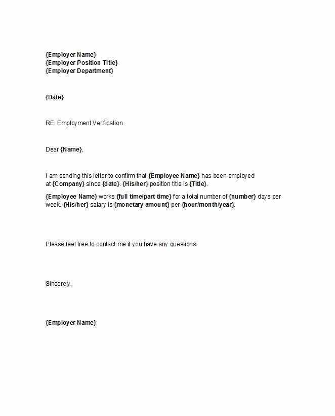 Proof Of Employment Letter Sample Unique 40 Proof Of Employment Letters Verification forms & Samples