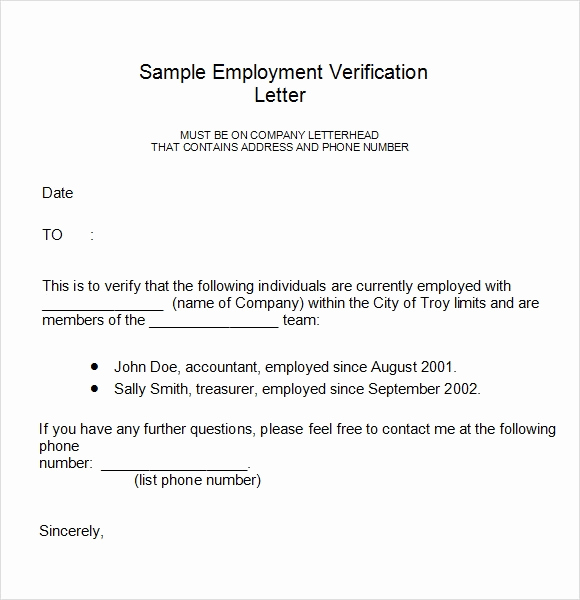 Proof Of Employment Letter Sample Unique Employment Verification Letter 14 Download Free