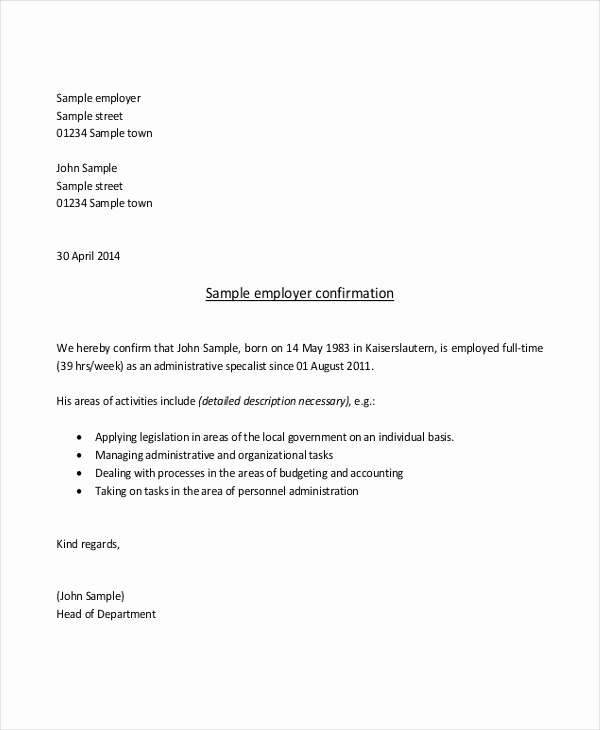 Proof Of Employment Letter Template Lovely Sample Proof Of Employment Letter 10 Sample Documents