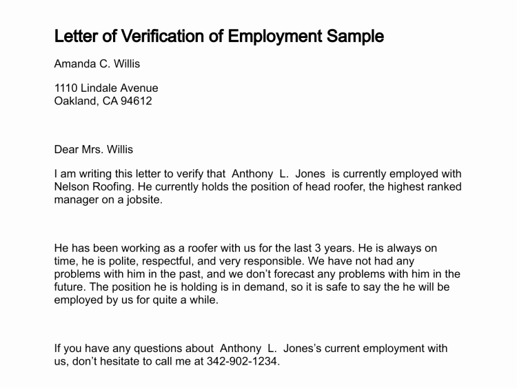 Proof Of Employment Letter Template Luxury Sample Proof Employment Verification Employment