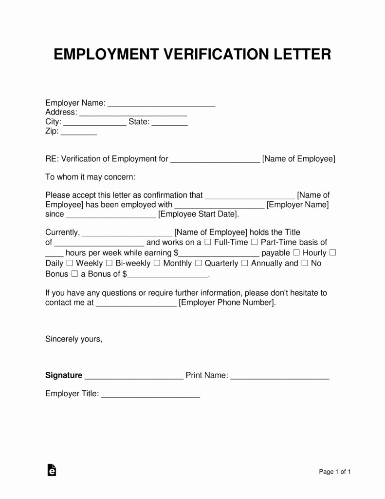 Proof Of Income form Elegant Free Employment In E Verification Letter Pdf