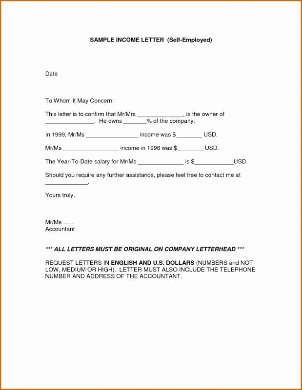 Proof Of Income Letter Sample Elegant Proof In E Letter