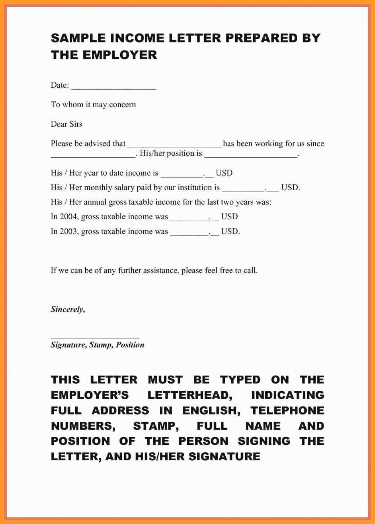 Proof Of Income Letter Sample Fresh 10 11 Sample Proof Of In E Letter From Employer