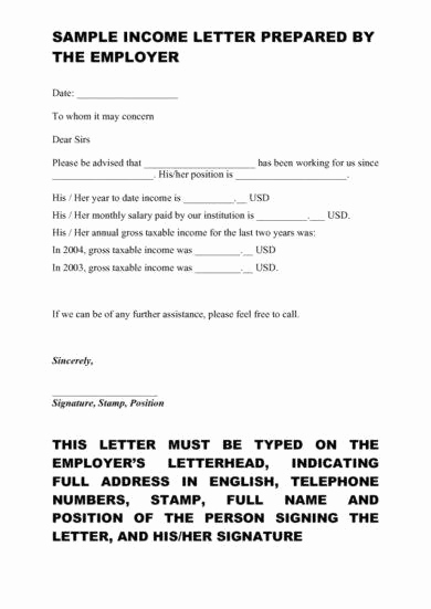 Proof Of Income Letter Sample Inspirational 9 Proof Of In E Letter Examples Pdf