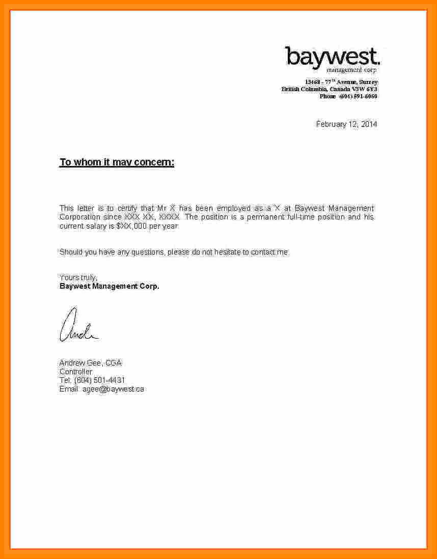 Proof Of Income Letter Sample Lovely 8 Salary Letter From Employer Sample