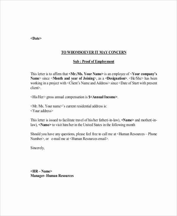 Proof Of Work Letter Fresh Sample Proof Of Employment Letter 10 Sample Documents