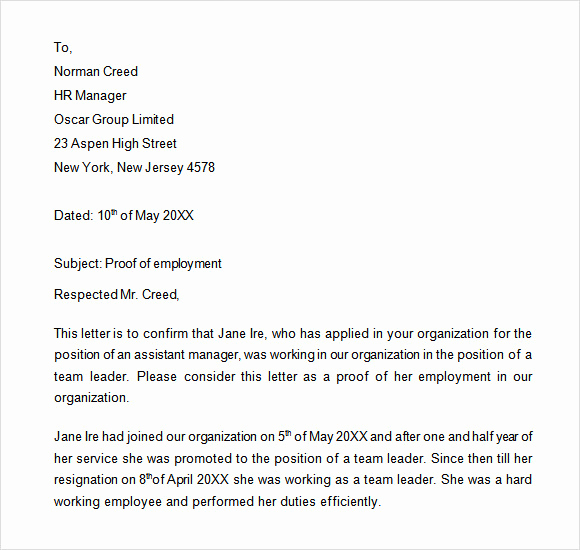Proof Of Work Letter Fresh Sample Proof Of Employment Letter 9 Download Free