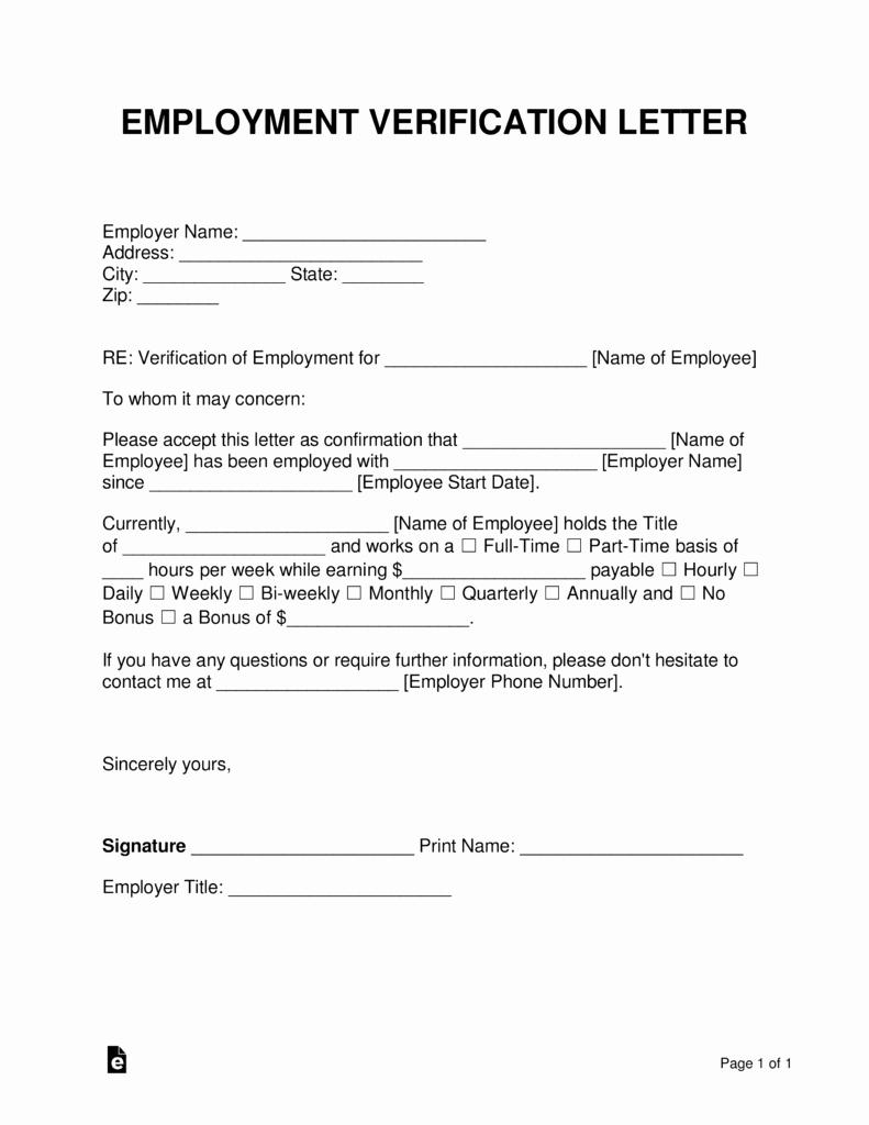 Proof Of Work Letter Unique Free Employment In E Verification Letter Pdf