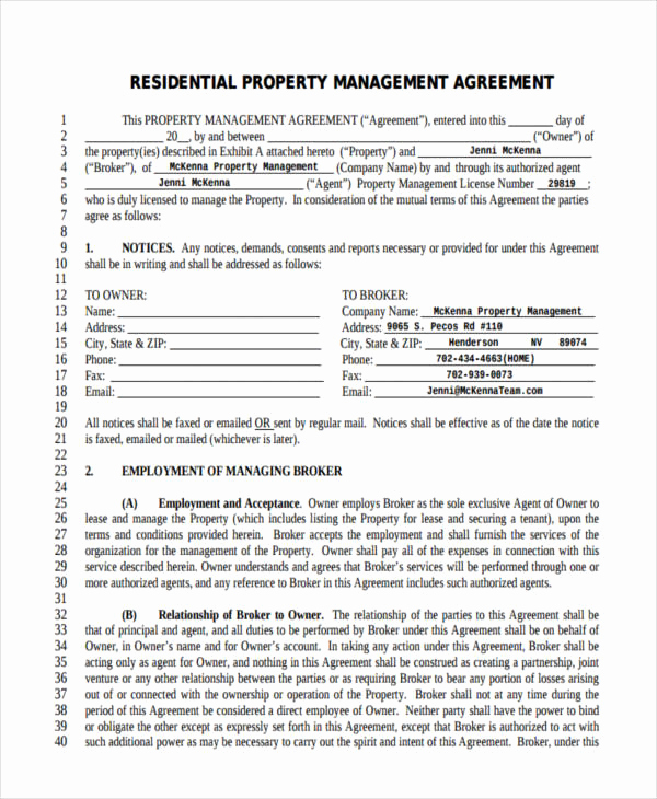 Property Management Agreement Pdf Awesome 58 Management Agreement Examples and Samples