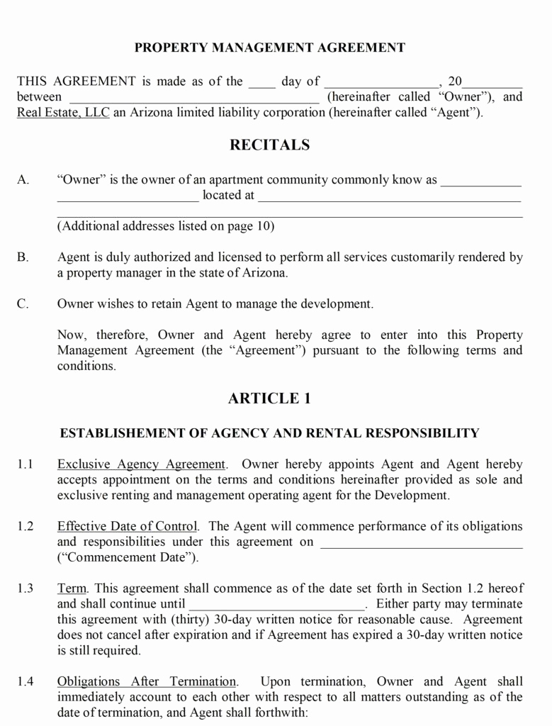 Property Management Agreement Pdf Awesome Property Management Contract