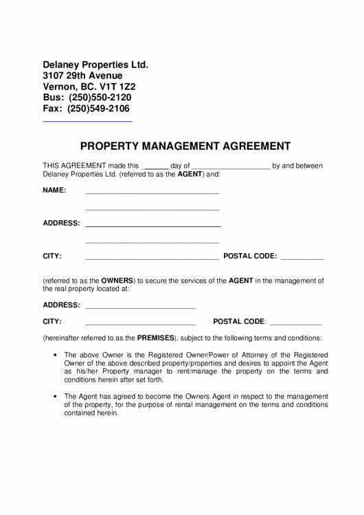 Property Management Agreement Pdf Best Of Property Management Agreement Printable Pdf