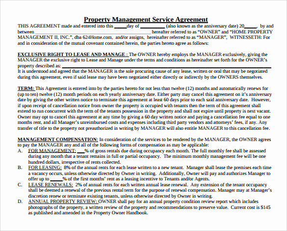 Property Management Agreement Pdf Best Of Sample Management Agreement 16 Free Documents In Pdf Word