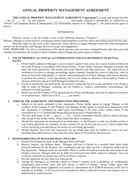 Property Management Agreement Pdf Elegant Sample Management Agreement