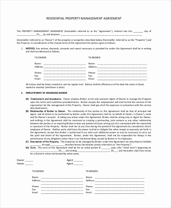Property Management Agreement Pdf Elegant Sample Property Management Agreement 9 Documents In Pdf
