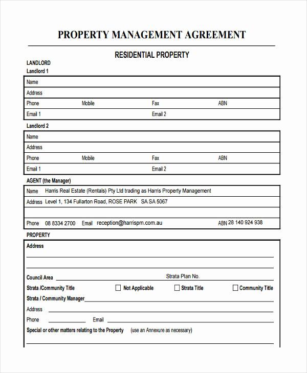 Property Management Agreement Pdf Inspirational 58 Management Agreement Examples and Samples
