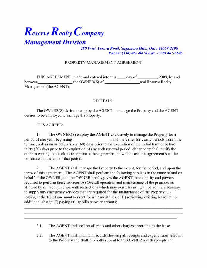 Property Management Agreement Pdf Lovely Property Management Agreement In Word and Pdf formats