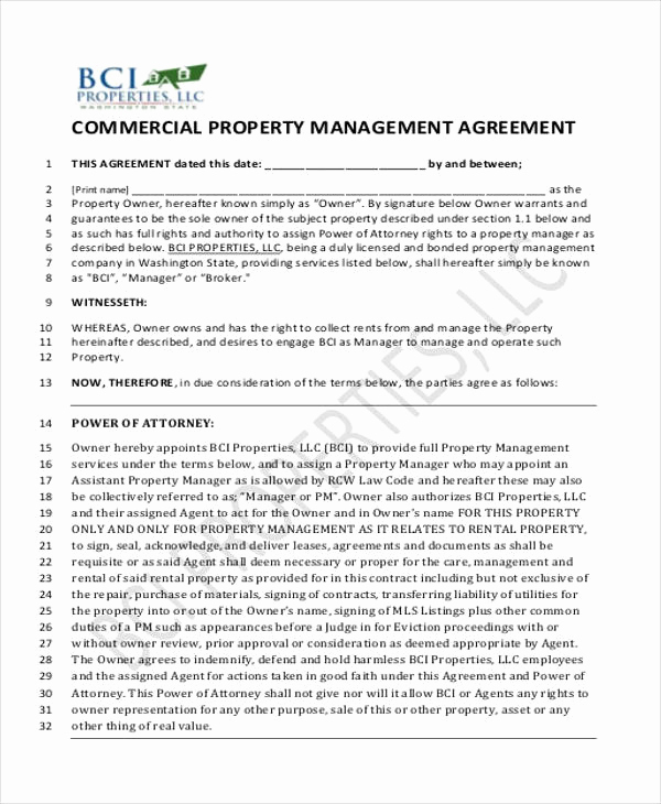 Property Management Agreement Pdf New 8 Sample Mercial Property Management Agreements Word
