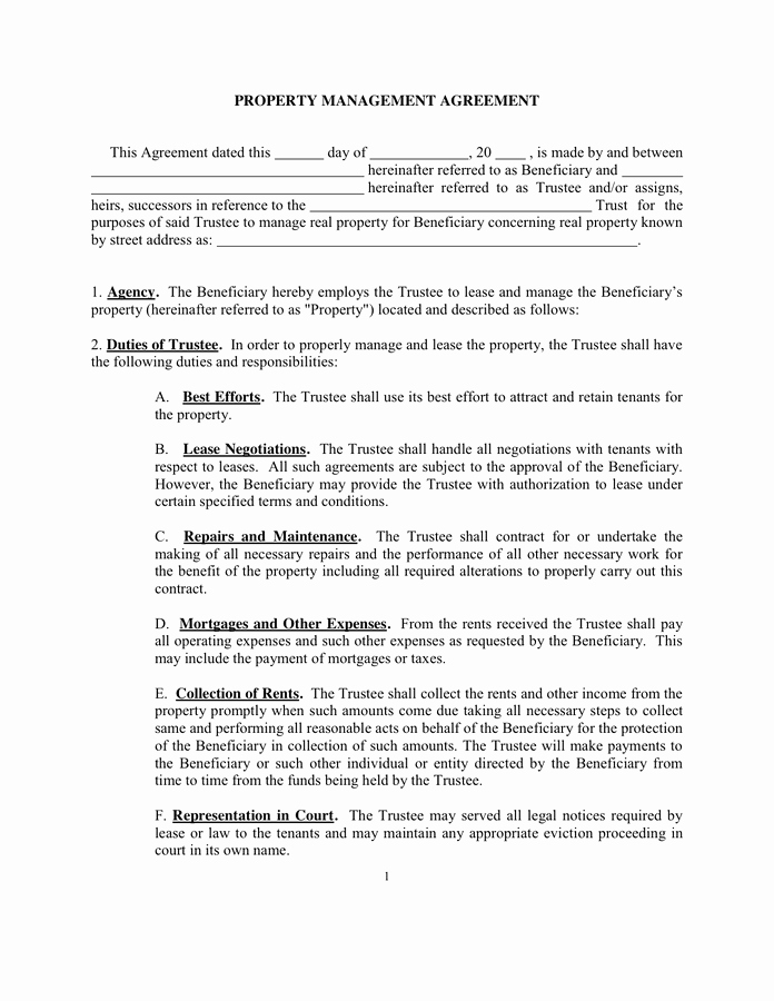 Property Management Agreement Pdf New Sample Property Management Agreement