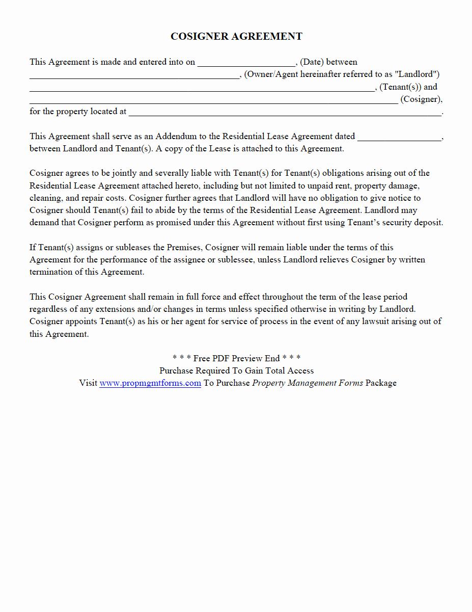 Property Management Agreement Pdf Unique Cosigner Agreement Pdf