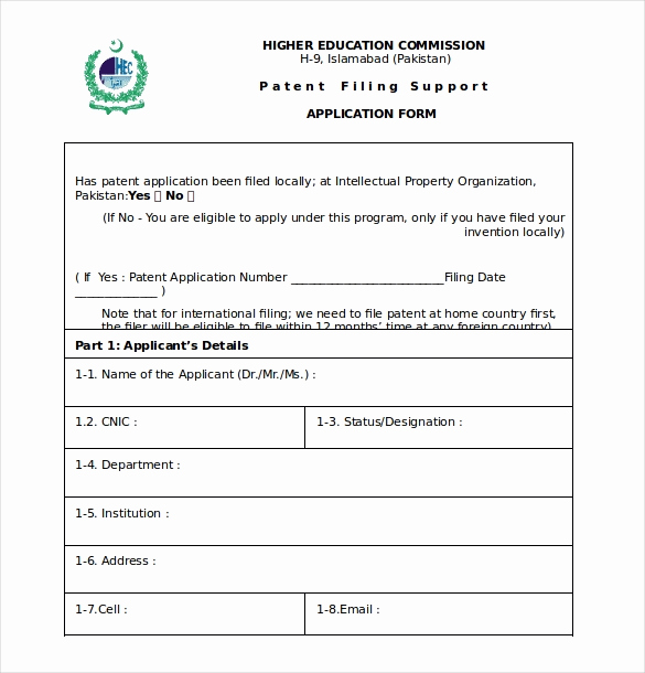 Provisional Patent Application form Elegant Patent Application Template – 12 Free Word Pdf Documents