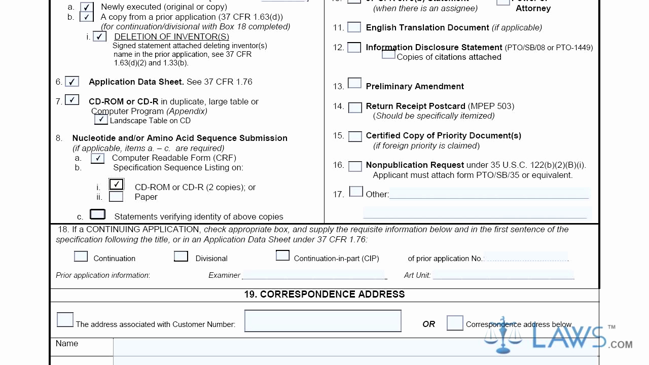 Provisional Patent Application form Inspirational Utility Patent Application Transmittal Sb0005