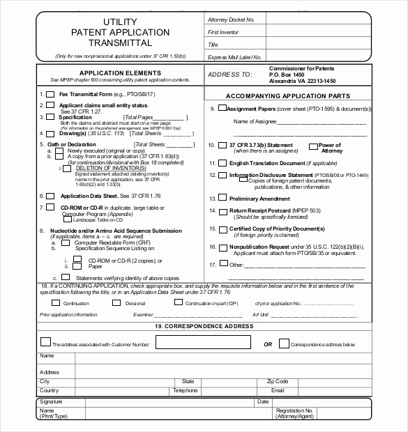 Provisional Patent Application form New 12 Patent Application Templates Free Sample Example