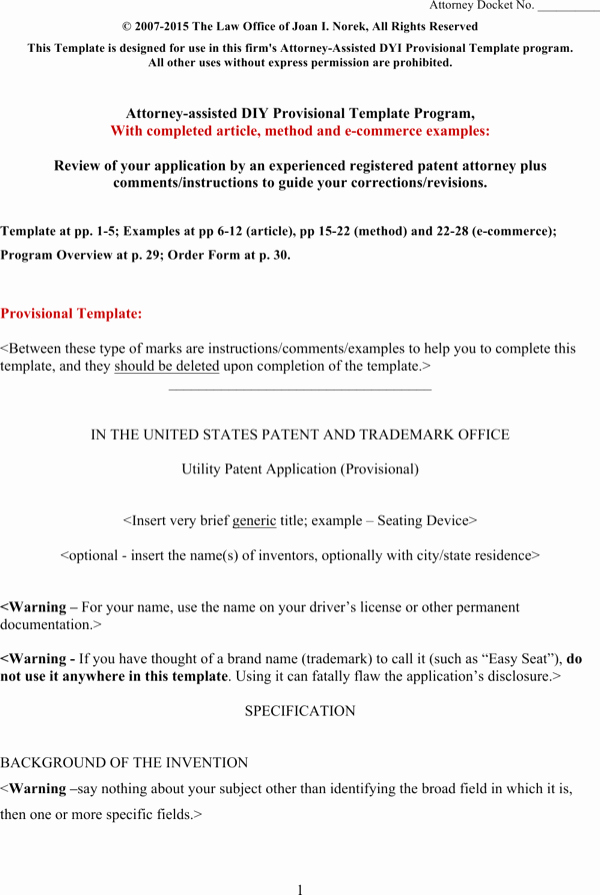 Provisional Patent Application form Unique Download Provisional Patent Application Template Word