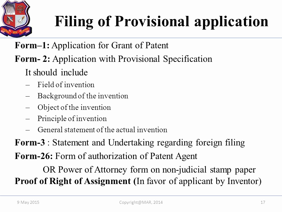 Provisional Patent Application form Unique Overview Of Drafting & Filing Of Patent In India Ppt